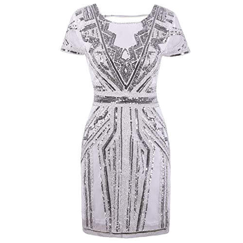 bdc30184584 Vijiv 1920s Short Prom Dresses V Neck Inspired Sequins Cocktail Flapper  Dress