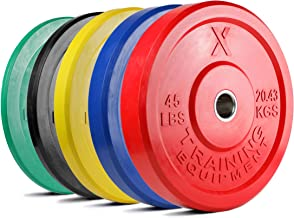 X Training Equipment Premium Color Bumper Plate Solid Rubber with Steel Insert –..