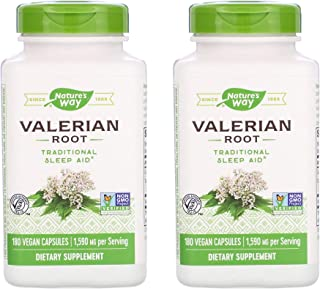 Nature's Way Valerian Root 1,590 Milligrams Traditional Sleep Aid as a Dietary Supplement (180 Vegan Capsules) Pack of 2