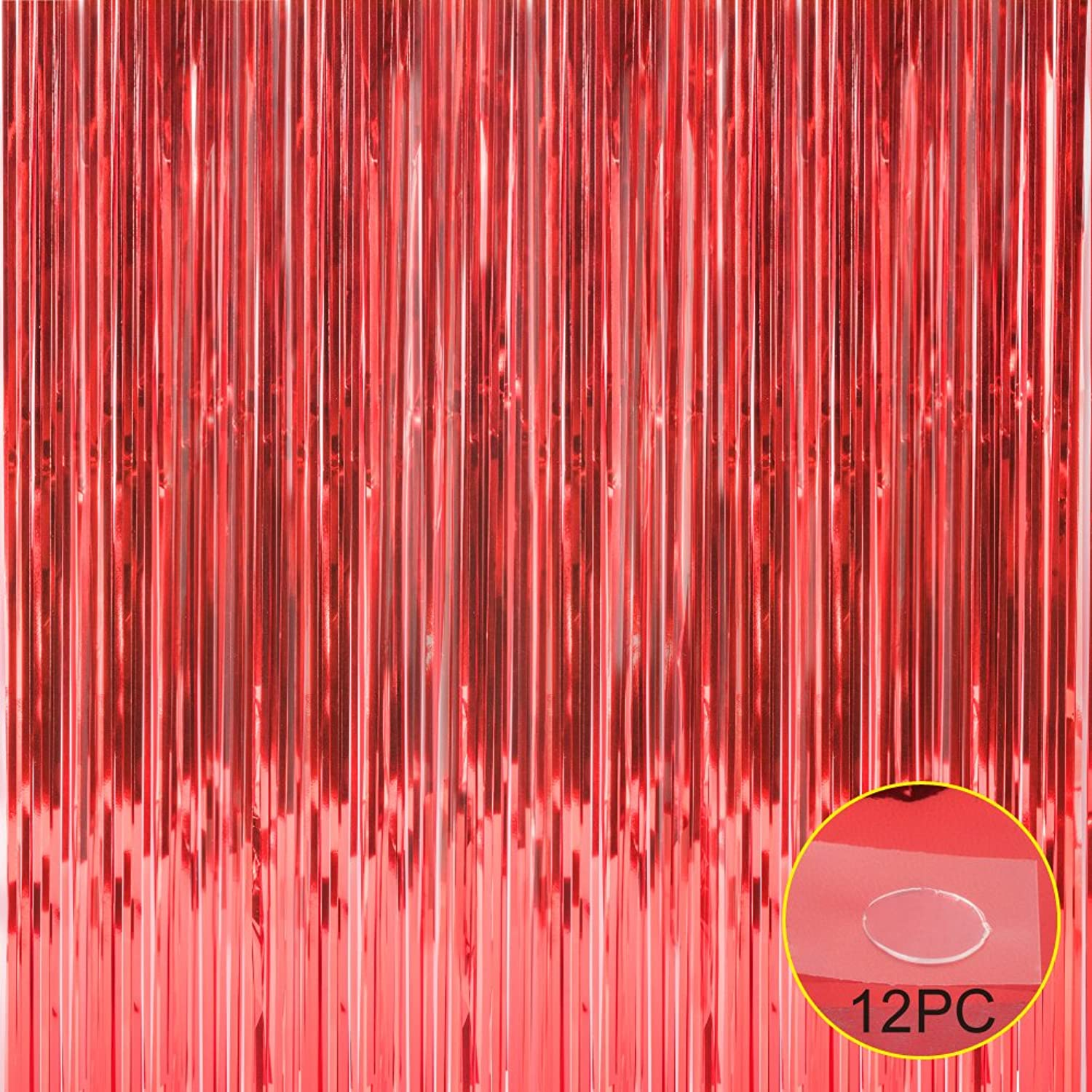 Foil Fringe Metallic Curtain Backdrops - with Balloon Sticks 3.3FTX6.6FT Tinsel Shiny Curtains Perfect for Photo Booth Party Window Door Decorative Fringe Curtains,1 Pair Red