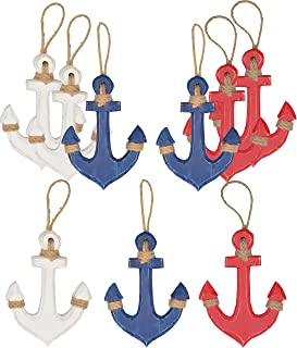 Hampton Nautical Wood Rustic Blue Red White Anchors Set, Wooden Anchor Decor, Anchor Wall Decor, Wooden Blue Red and White...