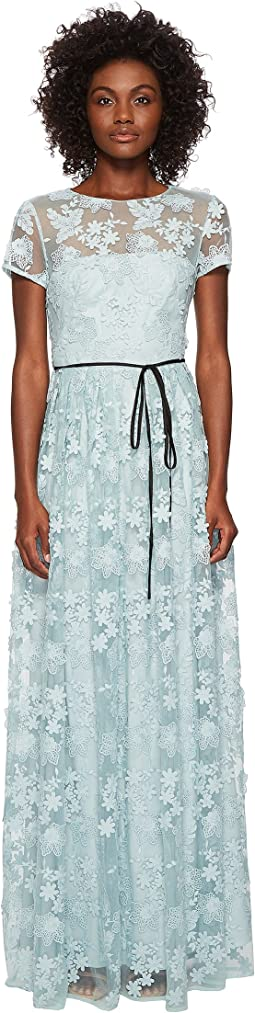 ML Monique Lhuillier - Short Sleeve Long Lace Maxi Dress