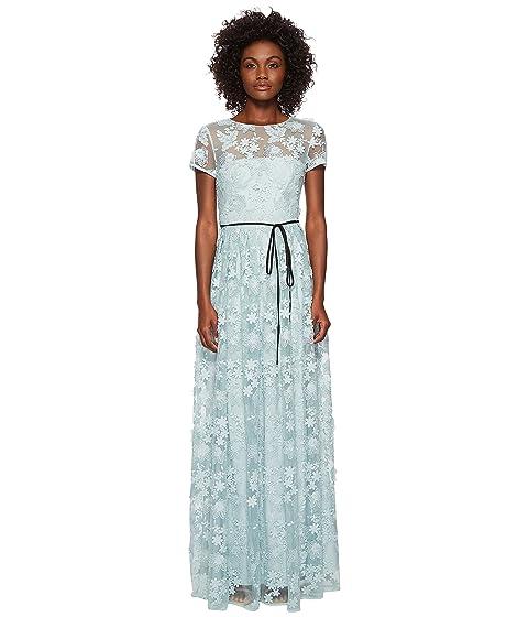 9d08994cbf6 Ml Monique Lhuillier Short Sleeve Long Lace Maxi Dress