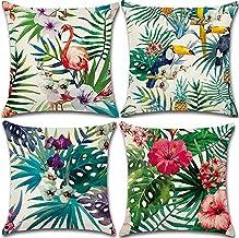 Cushion cover 45X45 set of 4 Tropical leaves Flamingo bird digital print linen decorative throw pillow case 18X18inch (Tro...