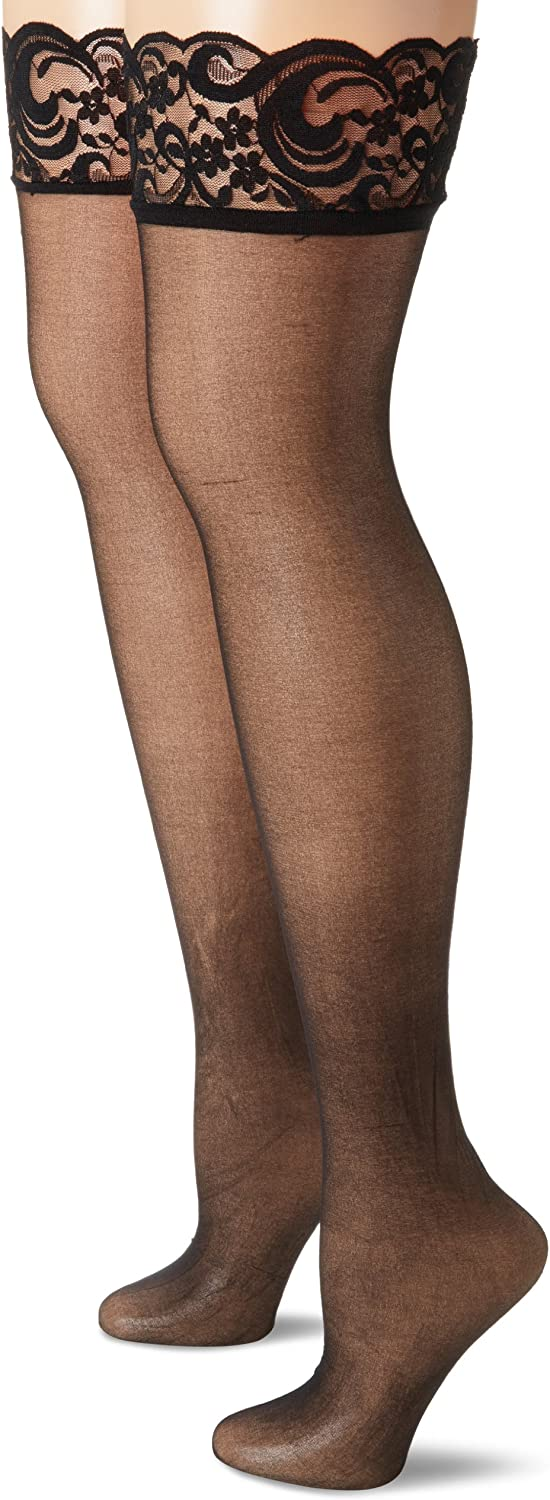 MUSIC LEGS Women's 2 Pack Backseam Sheer Plus Size Thigh Hi with Lace Top
