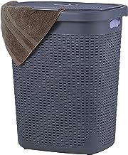 Wicker Laundry Hamper With Lid 50 Liter - Grey Laundry Basket 1.40 Bushel Durable Bin With Cutout Handles - Easy Storage D...