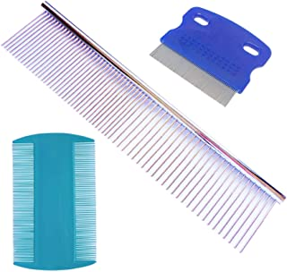 zYoung 3 Pcs Pet Stainless Steel Grooming Tool Poodle Finishing Butter Comb Dog Grooming Comb Tear Stain Remover Comb Dog ...