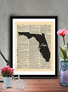 Florida State Vintage Map Vintage Dictionary Print 8×10 inch Home Vintage Art..