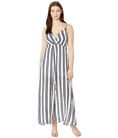 American Rose Elenor Spaghetti Strap Striped Dress (Off-White) Women