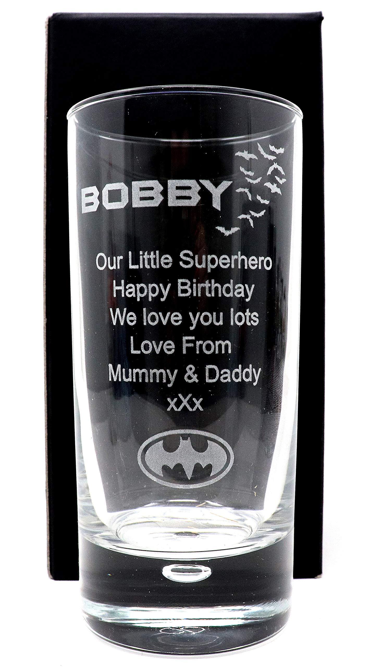Cr8 A Gift Grabado/Personalizado * diseño de Batman * Burbuja Base Highball Vidrio en Caja de Regalo: Amazon.es: Hogar