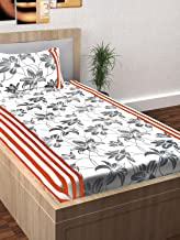Story@Home Spark 1 Pc Collection 208 TC 100% Cotton White 1 Single Bedsheet with 1 Pillow Cover