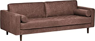 Amazon Brand – Rivet Aiden Mid-Century Leather Sofa with Tapered Wood Legs, 87W, Dark Brown