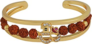 Charms Rudraksh American Diamond Gold Meena Shivaji Cuff Kada Bracelet for Men