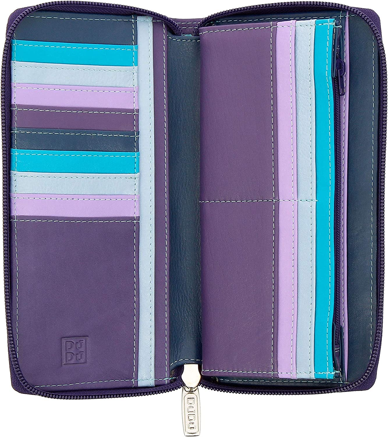 DUDU Long Zipper Wallet for Women in Leather Large Ladies Purse Zip Around with 15 Card Slots Mauve