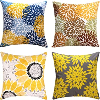 cygnus Farmhouse Throw Pillow Cover 18x18 Yellow Floral Pillowcase Outdoor Cushion Cover Pillow Case for Sofa Bed Decorative Pack of 4