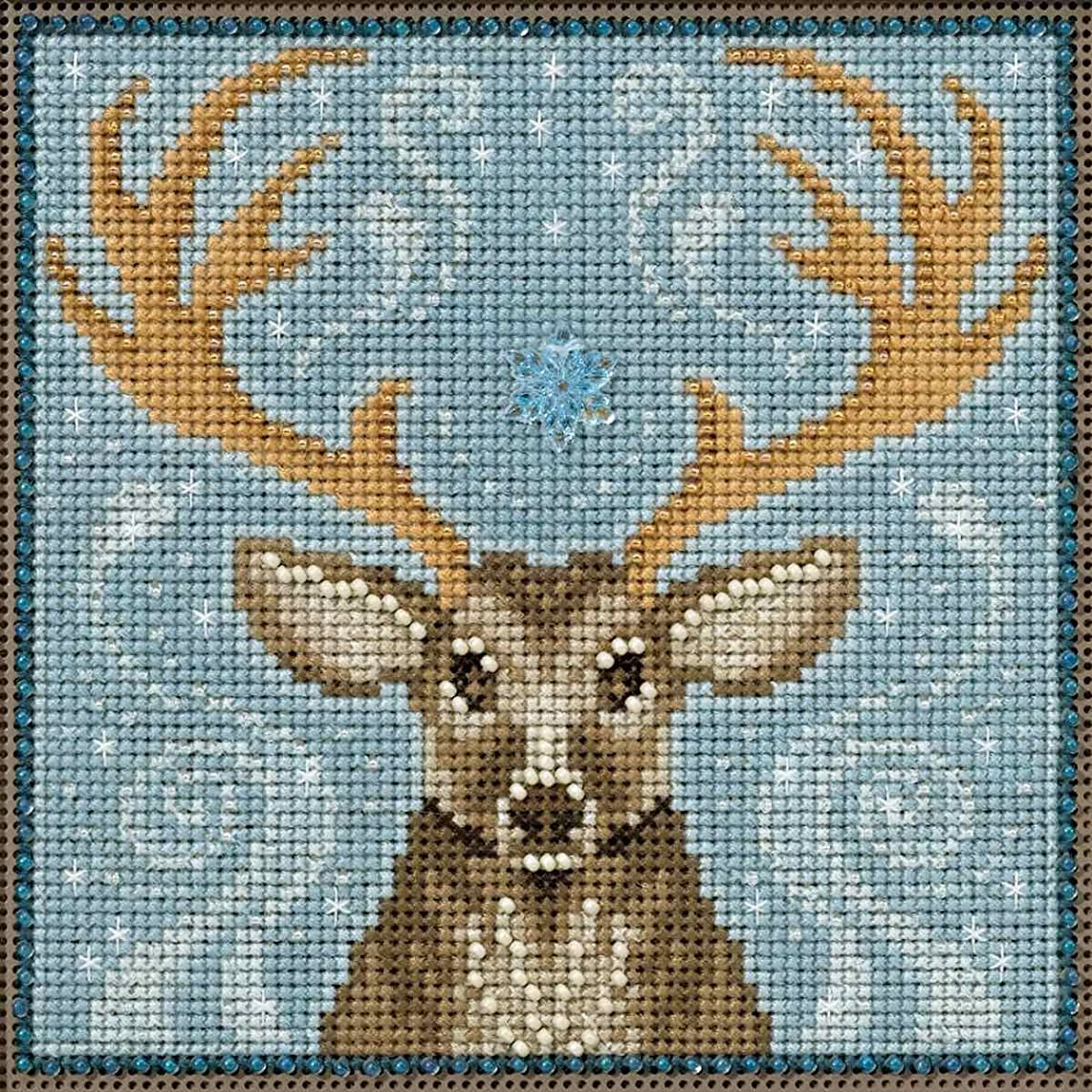 Winter Stag Beaded Counted Cross Stitch Kit Mill Hill Buttons & Beads 2016 Winter Series MH141636 pl623284104358