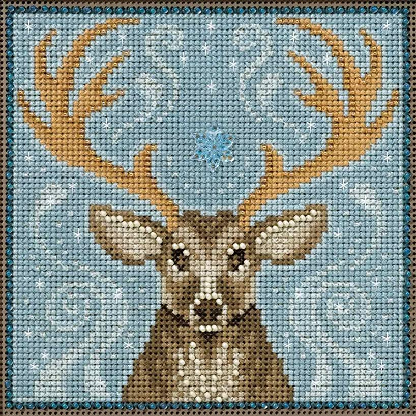 Winter Stag Beaded Counted Cross Stitch Kit Mill Hill Buttons & Beads 2016 Winter Series MH141636
