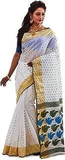 SareesofBengal Women's Jamdani White Handloom Tangail Cotton Bengal Tant Saree