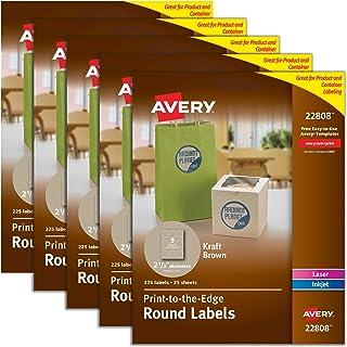 "Avery Round Labels for Laser & Inkjet Printers, 2.5"", 5 Packs, 1,125 Labels Total, Kraft Brown Labels (22808)"