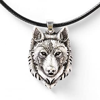 """HAQUIL Wolf Jewelry Wolf Pendant Leather Cord Necklace for Men and Women, 19.7"""""""