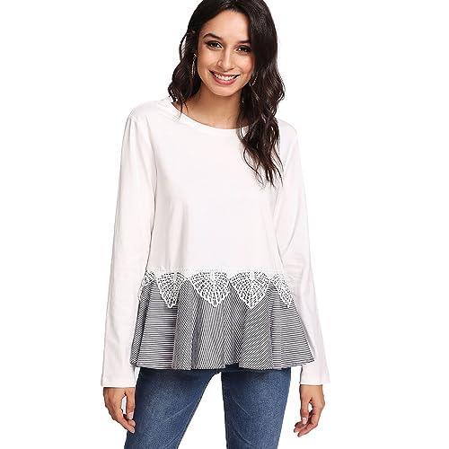 179f1bd61ac0b Floerns Women  Short Sleeve Summer T Shirt Peplum Top