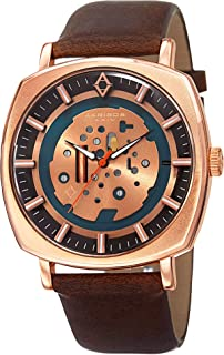 Akribos XXIV Men's Imitation Skeleton Style Watch - Sunray Layered Dial On Antique Genuine Leather Strap - AK826