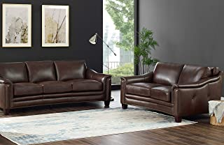 Hydeline San Rafael 100% Leather Set, Sofa and Loveseat, Brown