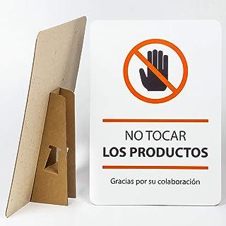 Cartel No tocar el producto, Prohibido tocar, con Pié para mostrador o superficies. 25 x 35 cm, Seguridad y señalización