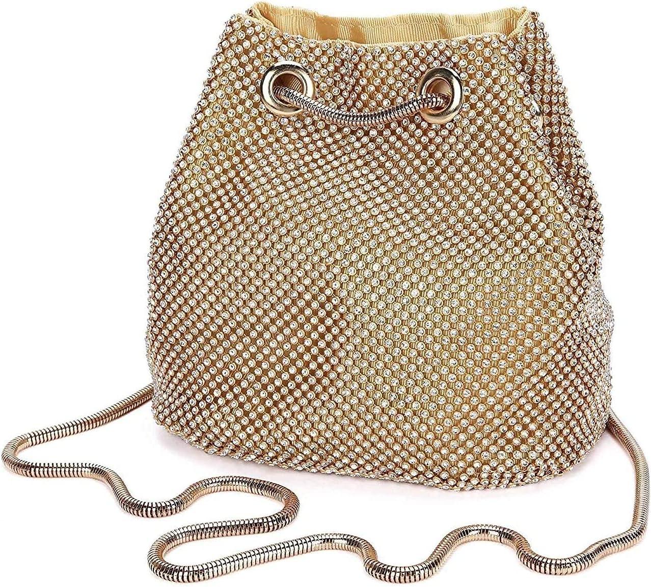 BDBT Women's Evening Handbags Women's Evening Bag Rhinestone Clutch Shoulder Bag Chain Bag Wedding Party Disco (Color : Gold)