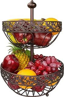Rosyline 2 tier fruit basket, fruit bowl, multi-purpose kitchen and living room storage fruit and vegetable basket (Bronze gold)