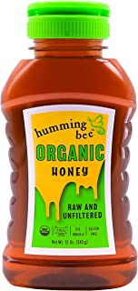 12 oz Humming Bee USDA Certified Organic Honey - No Gluten, Kosher, US Grade A, Pure SLOW, Raw, and Unfiltered Natural Yuc...