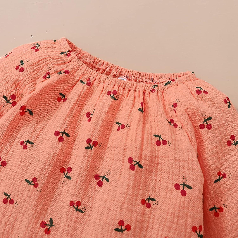 Maacie Kids Cotton Outfits Little Girl Long Sleeve Crew Neck Tops+Pants+Headwear