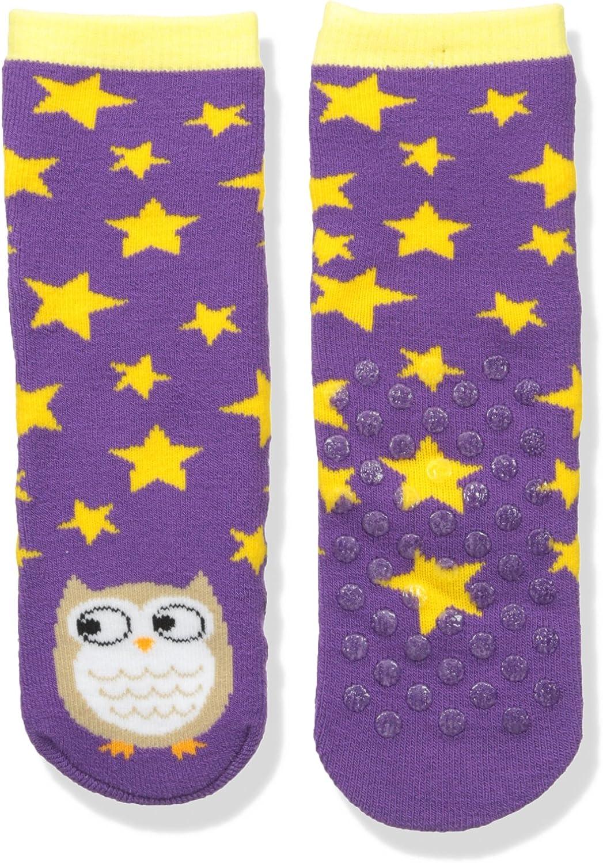 Sperry Girls' Big Novelty Tube Slipper Socks, Purple owl, Shoe Size: 7.5-13