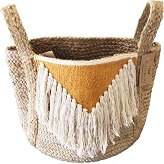 Jute Basket Planter with Handles – Modern Natural Woven Boho Décor Used as Indoor Pot Plant Cover for 11 inch Pot, Storage Organizer, Toys, Laundry – 13 inch x 12 inch H x 14 inch - by Gully and Vine