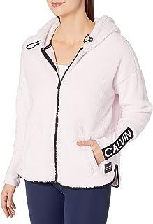 Calvin Klein Women's Calvin Logo Tapedrop Shoulder Zip Front Jacket, Adore, X-Large