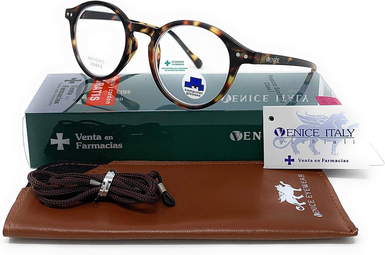 VENICE EYEWEAR OCCHIALI   New Model Gafas de lectura con filtro bloqueo de luz azul para gaming, ordenador, móvil. Anti fatiga Lennon Professional Executive UNISEX venice (Demi, 2.00)