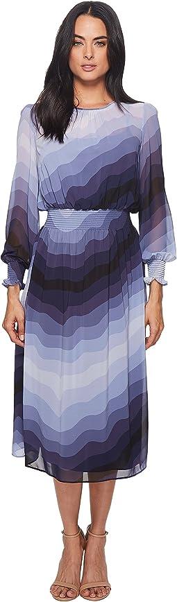 CATHERINE Catherine Malandrino - Trudy Long Sleeve High Neck Sheer Slip Layer Midi Dress