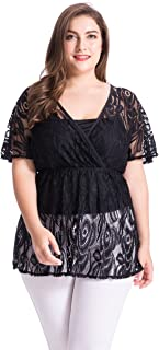 Women's Plus Size Floral Lace Top Blouse with Jersey Cami