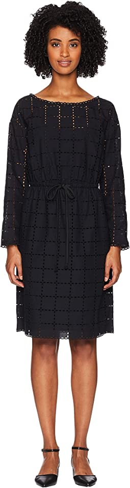Broderie Anglaise Carreau Long Sleeve Dress