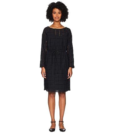 Sonia Rykiel Broderie Anglaise Carreau Long Sleeve Dress (Black) Women