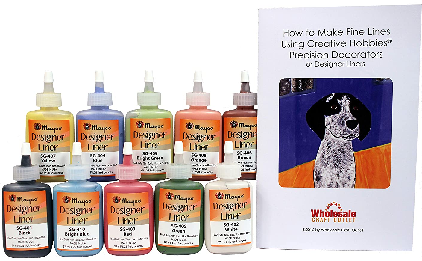 Mayco Designer Liner Ceramic Glaze Writers - 1.25 Ounce each, Kit of All 10 Colors plus Free Instructional Booklet