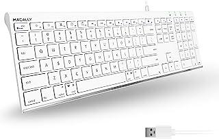 Macally Ultra-Slim USB Wired Computer Keyboard for Apple Mac Pro, MacBook Pro/Air, iMac, Mac Mini, Laptop, Windows PC Lapt...