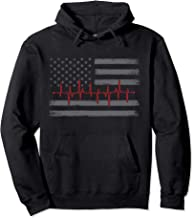 Thin Red Line Heartbeat American Flag Firefighter Pullover Hoodie