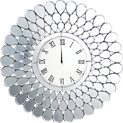 ioHOMES Olathe Glam Crystal Accent Glass Wall Clock, Silver