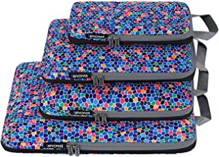 Bagail 4 Set/6 Set Compression Packing Cubes Travel Expandable Packing Organizers(Mozaic,4 Set)