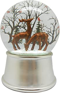 Lightahead Musical Reindeer Snow Globe Ball with Iron Base and Rotating Playing Tune in Poly Resin