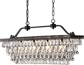 Edvivi 4-Light Antique Bronze Rectangular Linear Crystal Chandelier Dining Room Ceiling Fixture | Glam Lighting