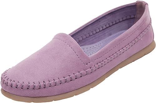 DQQ Femme Stich Bateau. Slip on Chaussures Plates - Violet - Violet,