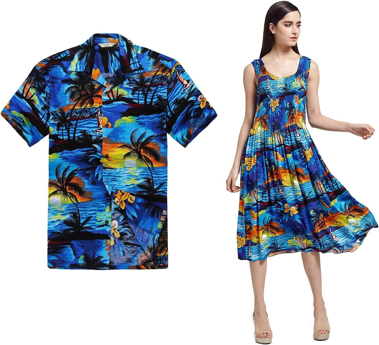 Couple Max 57% OFF Matching Hawaiian Luau Aloha Dress in Shirt Elastic Today's only Tank