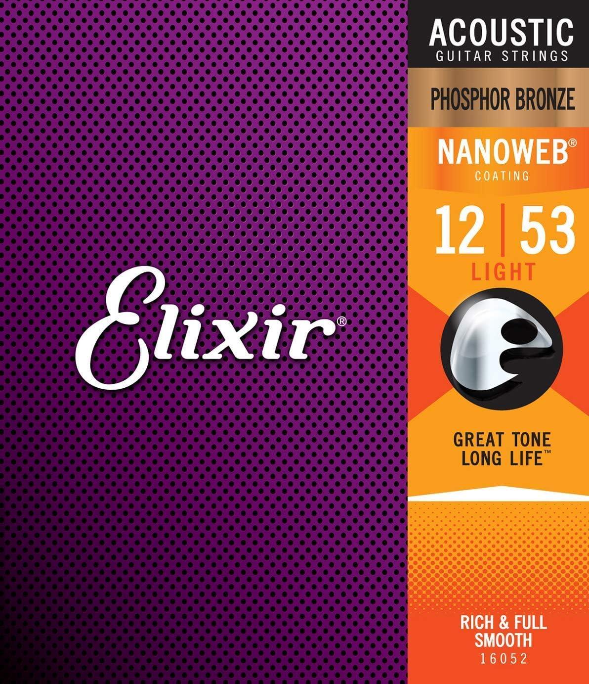 Suitable for Elixir Saiten Phosphor Bronze Akustik-Gitarrensaiten mit NANOWEB® Beschichtung, Light (.012-.053